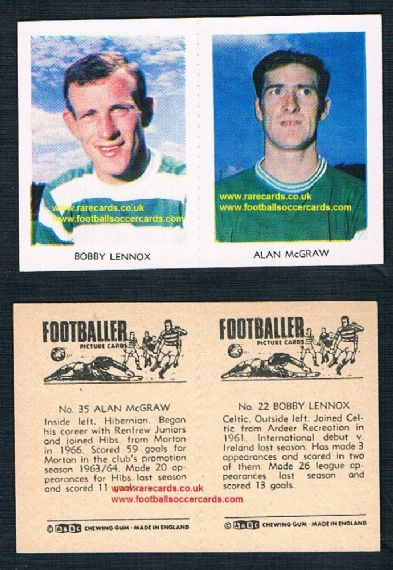 1966 A&BC Scottish pair Celtic Hibs 25 Alan McGraw & 22 Bobby Lennox